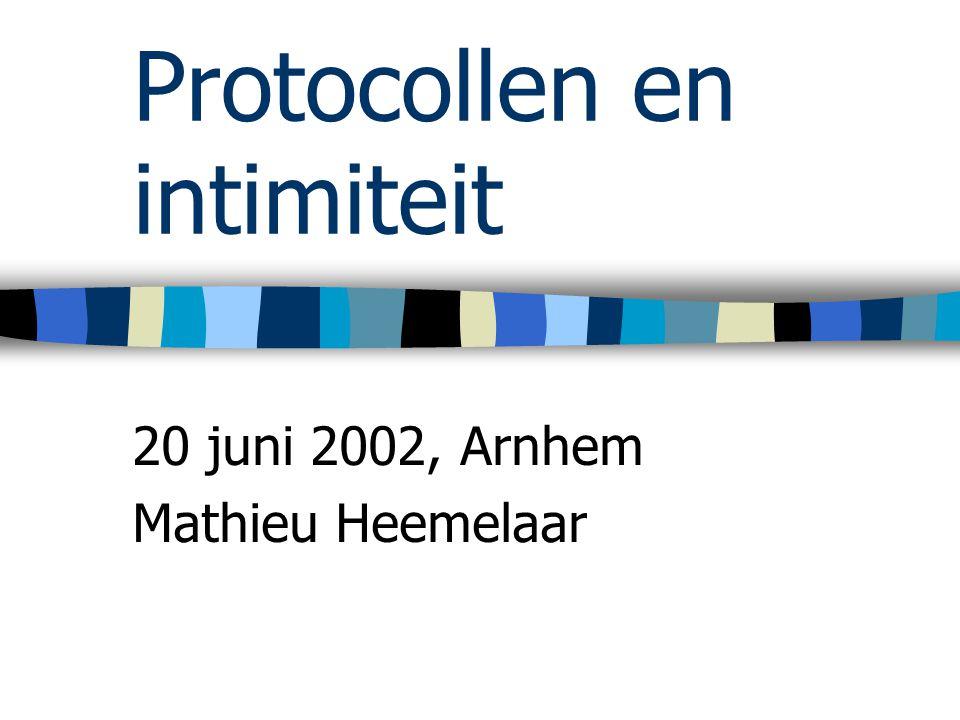 Protocollen en intimiteit 20 juni 2002, Arnhem Mathieu Heemelaar