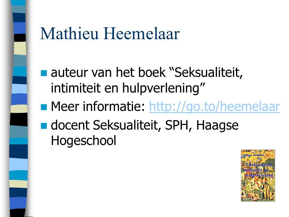 auteur van het boek Seksualiteit, intimiteit en hulpverlening Meer informatie: http://go.to/heemelaarhttp://go.to/heemelaar docent Seksualiteit, SPH, Haagse Hogeschool