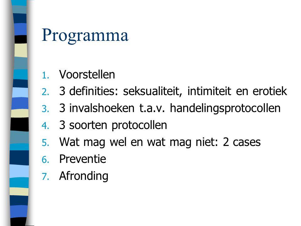 Programma 1.Voorstellen 2. 3 definities: seksualiteit, intimiteit en erotiek 3.
