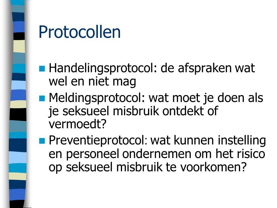 Protocollen Handelingsprotocol: de afspraken wat wel en niet mag Meldingsprotocol: wat moet je doen als je seksueel misbruik ontdekt of vermoedt.