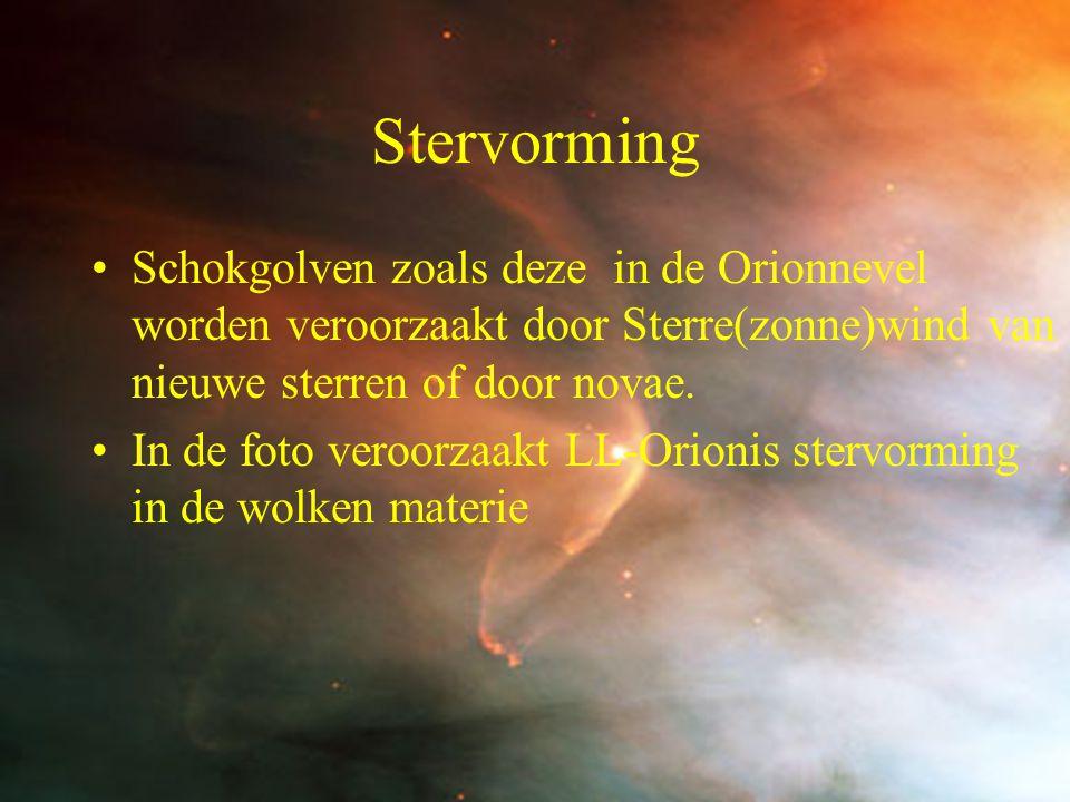 14 Stervorming Schokgolven zoals deze in de Orionnevel worden veroorzaakt door Sterre(zonne)wind van nieuwe sterren of door novae. In de foto veroorza