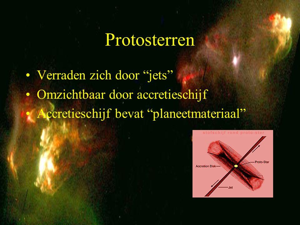 """16 Protosterren Verraden zich door """"jets"""" Omzichtbaar door accretieschijf Accretieschijf bevat """"planeetmateriaal"""""""