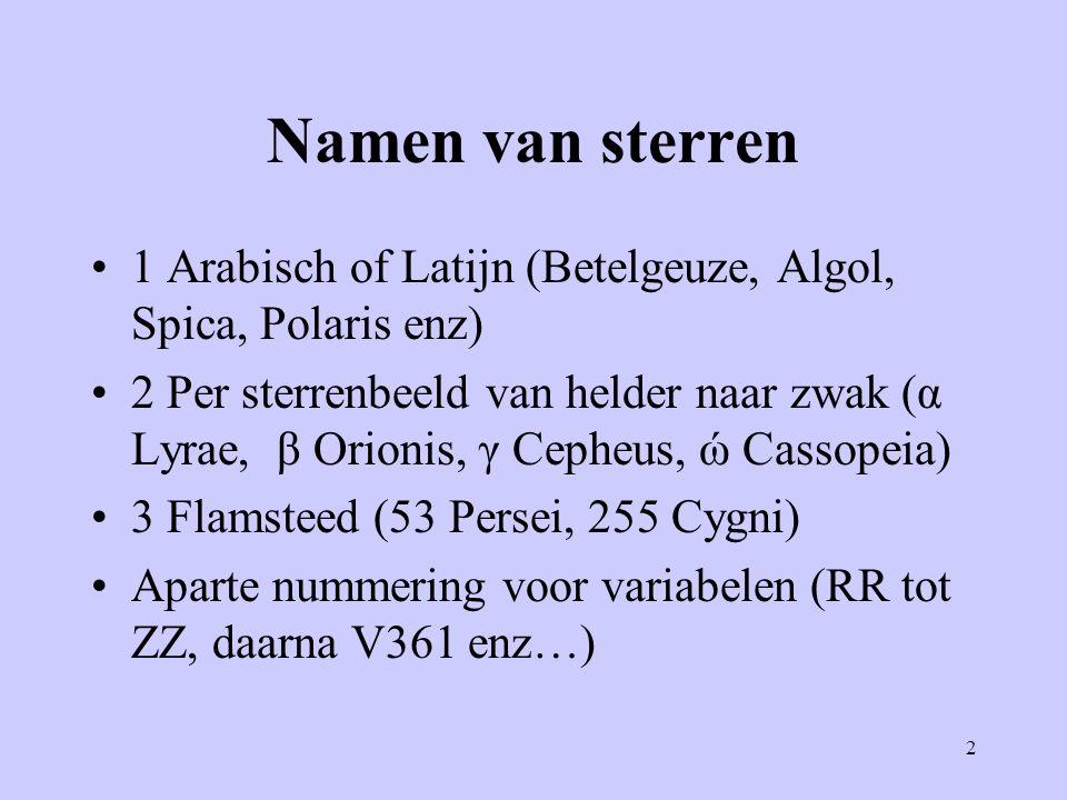 2 Namen van sterren 1 Arabisch of Latijn (Betelgeuze, Algol, Spica, Polaris enz) 2 Per sterrenbeeld van helder naar zwak (α Lyrae, β Orionis, γ Cepheu