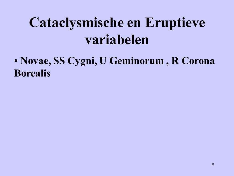 9 Cataclysmische en Eruptieve variabelen Novae, SS Cygni, U Geminorum, R Corona Borealis