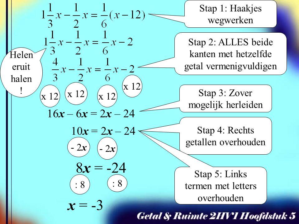 x 12 x = -3 Stap 1: Haakjes wegwerken Stap 2: ALLES beide kanten met hetzelfde getal vermenigvuldigen x 12 16x – 6x = 2x – 24 10x = 2x – 24 - 2x Stap