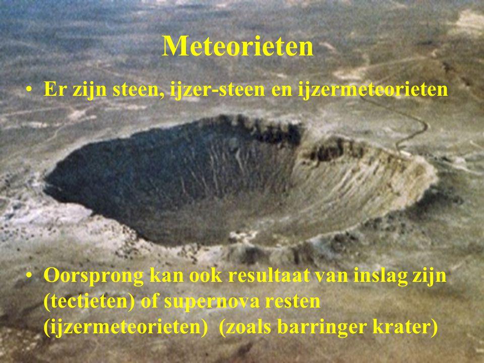 Meteorieten Er zijn steen, ijzer-steen en ijzermeteorieten Oorsprong kan ook resultaat van inslag zijn (tectieten) of supernova resten (ijzermeteoriet