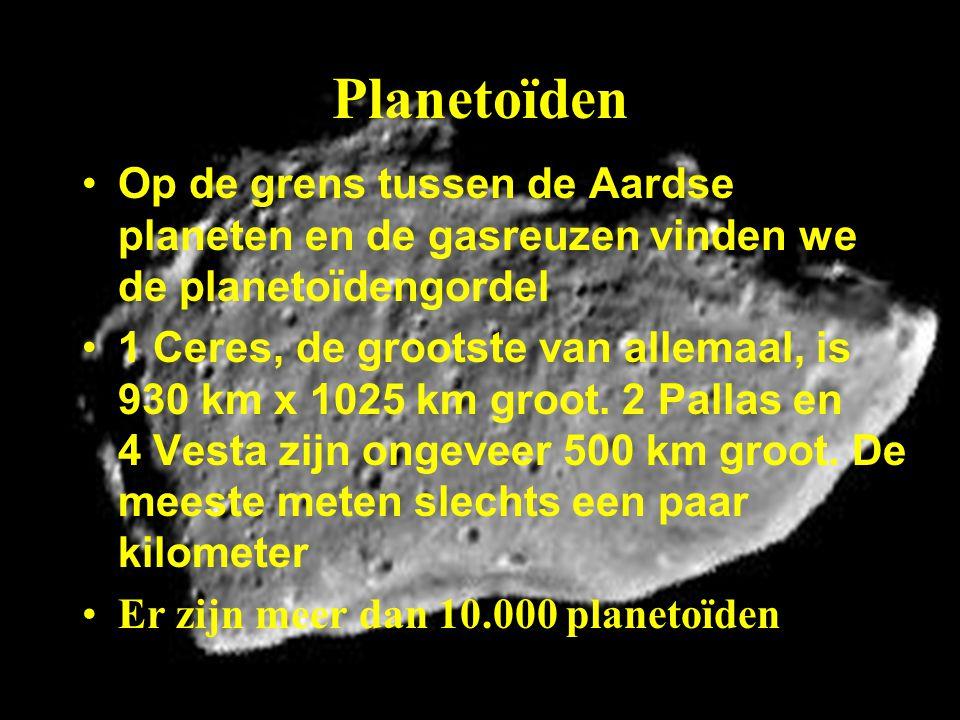 Planetoïden Op de grens tussen de Aardse planeten en de gasreuzen vinden we de planetoïdengordel 1 Ceres, de grootste van allemaal, is 930 km x 1025 k