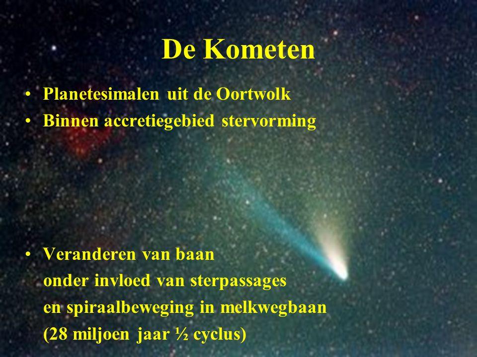 De Kometen Planetesimalen uit de Oortwolk Binnen accretiegebied stervorming Veranderen van baan onder invloed van sterpassages en spiraalbeweging in m
