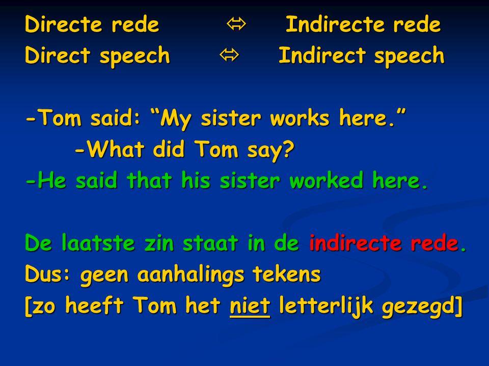 Directe rede He said:… … She is late. … He always sings. … I will explain. Als je indirecte rede gebruikt na een werkwoord dat in de v.t.