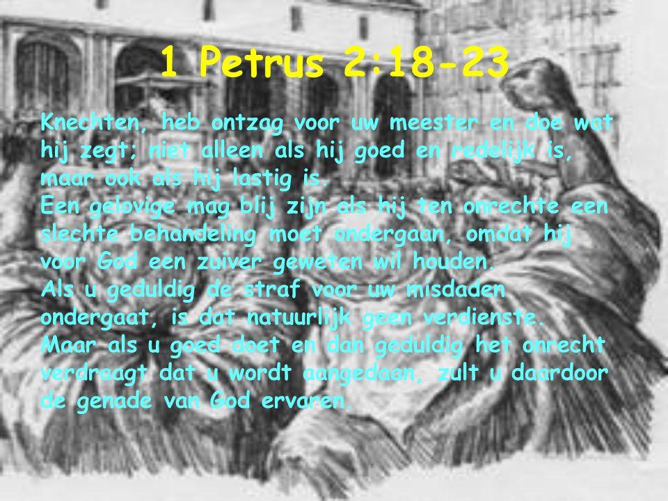 1 Petrus 2:18-23 Knechten, heb ontzag voor uw meester en doe wat hij zegt; niet alleen als hij goed en redelijk is, maar ook als hij lastig is. Een ge