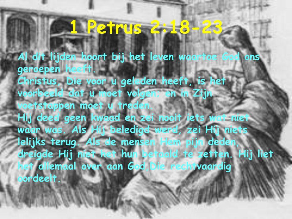 1 Petrus 2:18-23 Al dit lijden hoort bij het leven waartoe God ons geroepen heeft. Christus, Die voor u geleden heeft, is het voorbeeld dat u moet vol