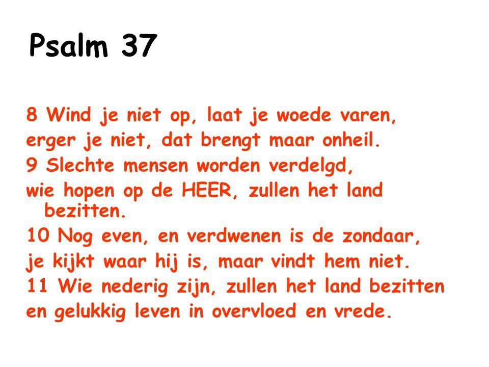 Zachtmoedigheid (Psalm 37) Vertrouw op God Geef jezelf over aan God Wees kalm en verwacht het van God, en kijk daarbij niet naar anderen Wees niet kwaad en laat de woede niet over je heersen …vertrouw op hem, hij zal dit voor je doen Vers 6b Leg je leven in de handen van de HEER Vers 6a Blijf kalm en wacht op de HEER, erger je niet aan wie slaagt in het leven, aan wie met listen te werk gaat Vers 7 Wind je niet op, laat je woede varen, erger je niet, dat brengt maar onheil Vers 8