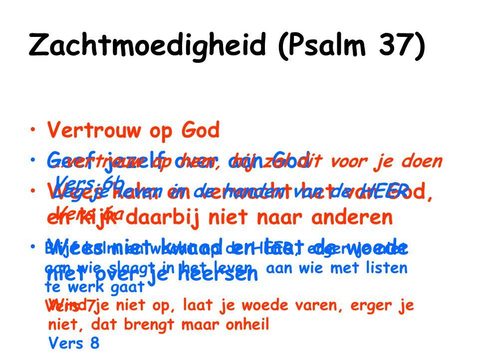 Zachtmoedigheid (Psalm 37) Vertrouw op God Geef jezelf over aan God Wees kalm en verwacht het van God, en kijk daarbij niet naar anderen Wees niet kwa