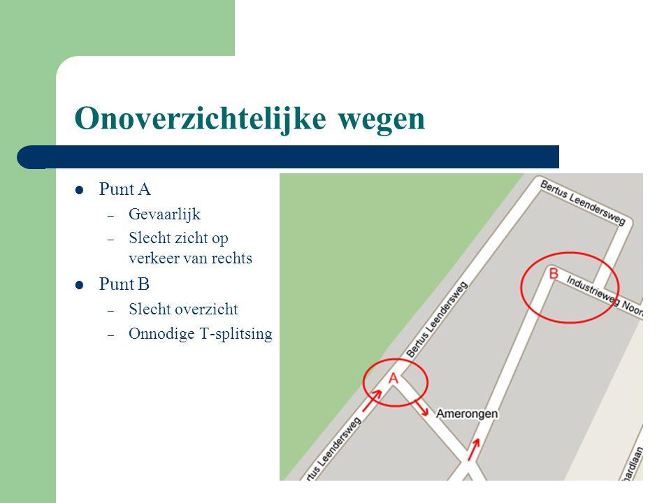 Onoverzichtelijke wegen Punt A – Gevaarlijk – Slecht zicht op verkeer van rechts Punt B – Slecht overzicht – Onnodige T-splitsing
