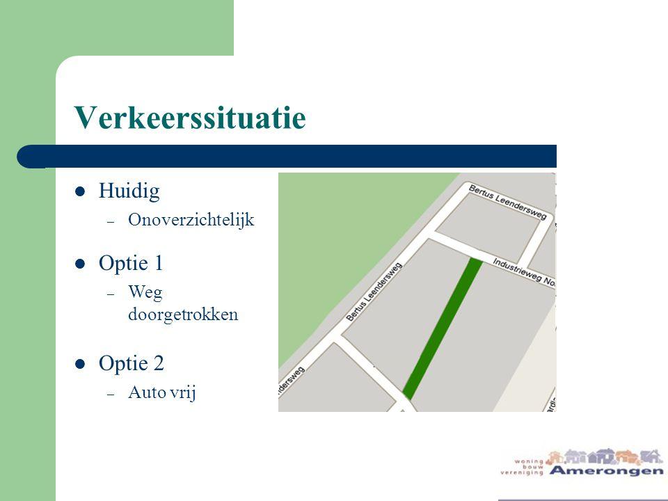 Verkeerssituatie Huidig – Onoverzichtelijk Optie 1 – Weg doorgetrokken Optie 2 – Auto vrij