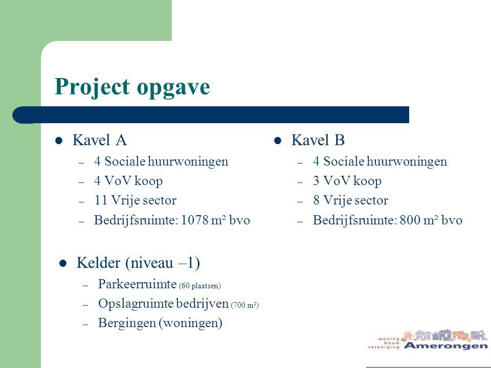 Project opgave Kavel A – 4 Sociale huurwoningen – 4 VoV koop – 11 Vrije sector – Bedrijfsruimte: 1078 m² bvo Kavel B – 4 Sociale huurwoningen – 3 VoV koop – 8 Vrije sector – Bedrijfsruimte: 800 m² bvo Kelder (niveau –1) – Parkeerruimte (60 plaatsen) – Opslagruimte bedrijven (700 m²) – Bergingen (woningen)