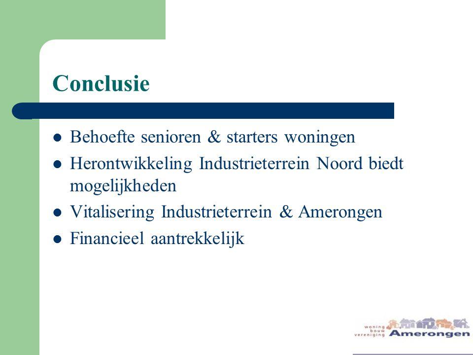 Conclusie Behoefte senioren & starters woningen Herontwikkeling Industrieterrein Noord biedt mogelijkheden Vitalisering Industrieterrein & Amerongen Financieel aantrekkelijk