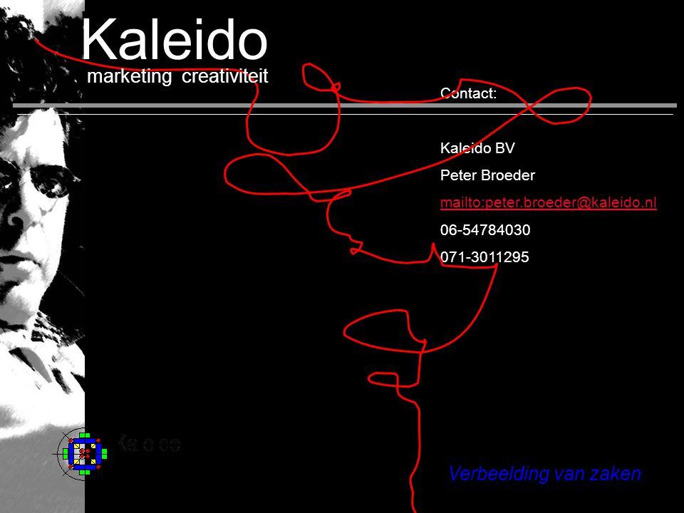Verbeelding van zaken Contact: Kaleido BV Peter Broeder mailto:peter.broeder@kaleido.nl 06-54784030 071-3011295 marketing creativiteit home Kaleido