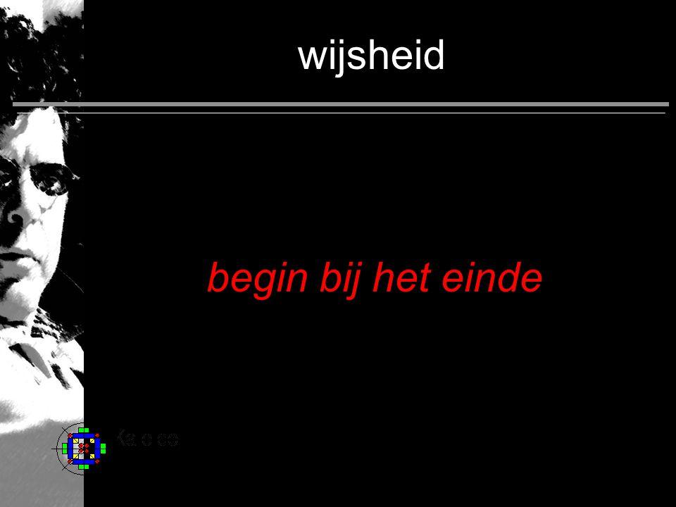 wijsheid begin bij het einde