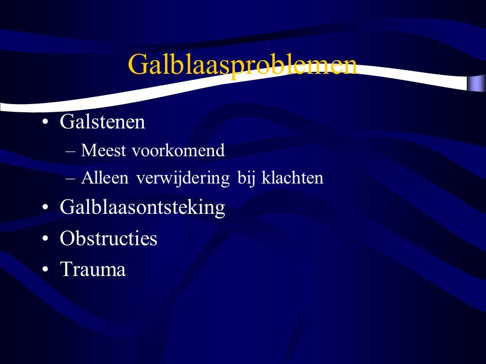 Galblaasproblemen Galstenen –Meest voorkomend –Alleen verwijdering bij klachten Galblaasontsteking Obstructies Trauma