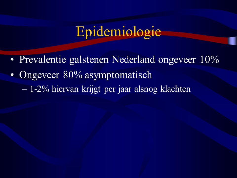 Epidemiologie Prevalentie galstenen Nederland ongeveer 10% Ongeveer 80% asymptomatisch –1-2% hiervan krijgt per jaar alsnog klachten