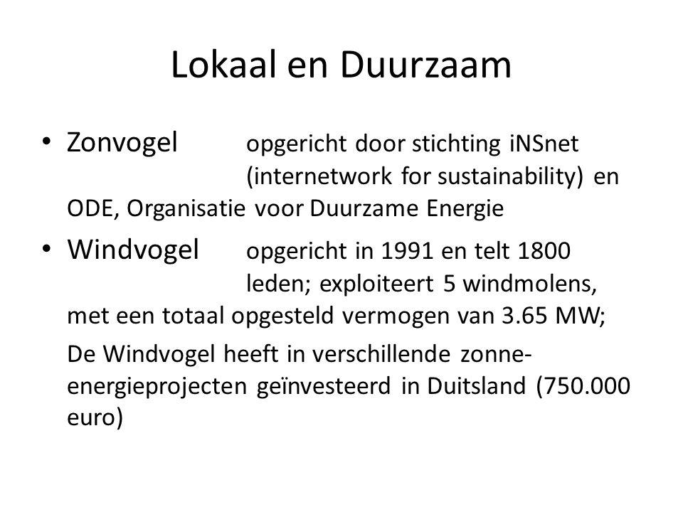 Lokaal en Duurzaam Zonvogel opgericht door stichting iNSnet (internetwork for sustainability) en ODE, Organisatie voor Duurzame Energie Windvogel opgericht in 1991 en telt 1800 leden; exploiteert 5 windmolens, met een totaal opgesteld vermogen van 3.65 MW; De Windvogel heeft in verschillende zonne- energieprojecten geïnvesteerd in Duitsland (750.000 euro)