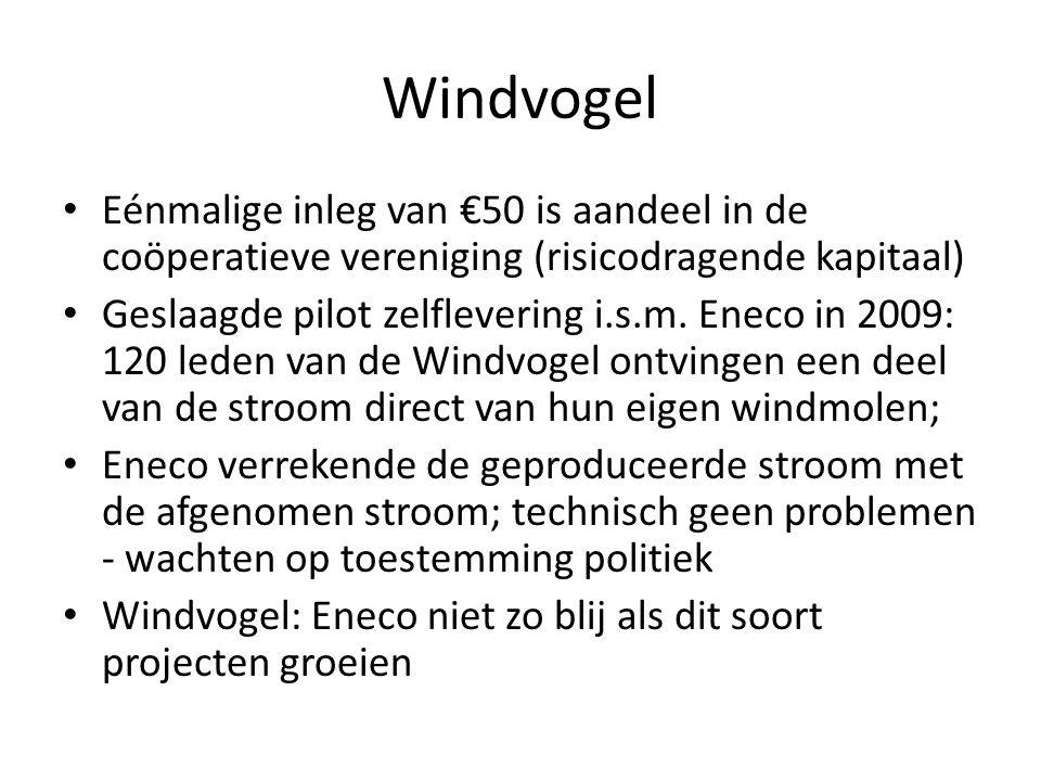Windvogel Eénmalige inleg van €50 is aandeel in de coöperatieve vereniging (risicodragende kapitaal) Geslaagde pilot zelflevering i.s.m. Eneco in 2009