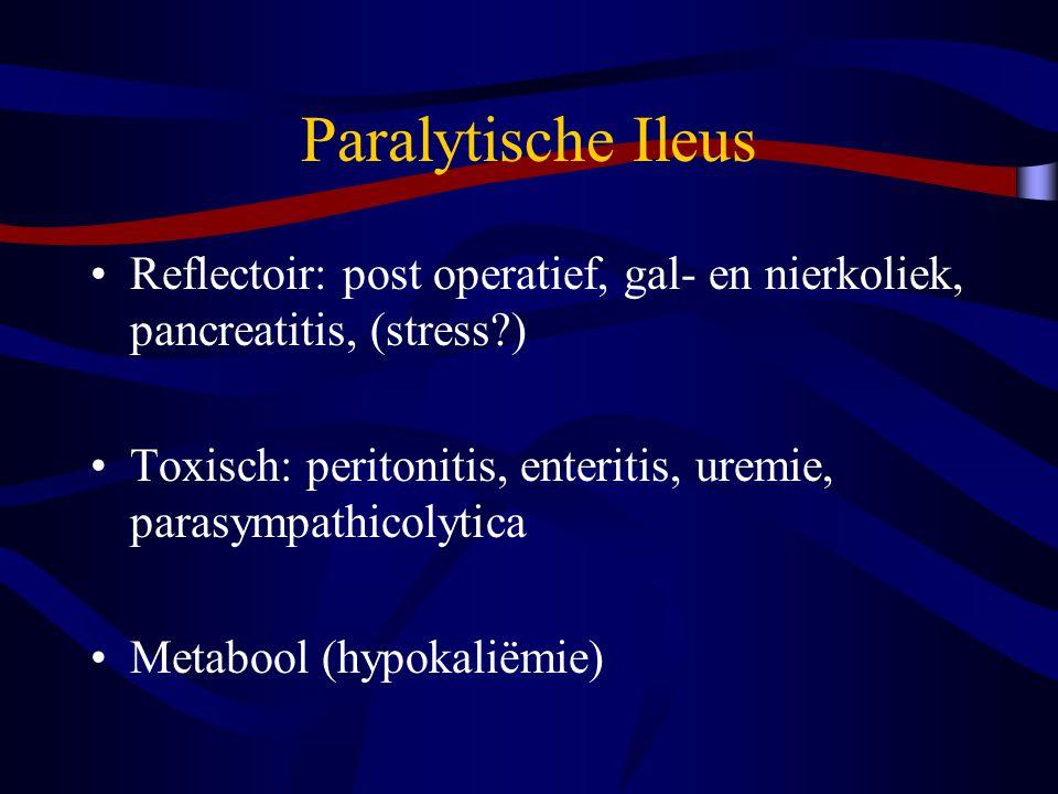 Paralytische Ileus Reflectoir: post operatief, gal- en nierkoliek, pancreatitis, (stress?) Toxisch: peritonitis, enteritis, uremie, parasympathicolytica Metabool (hypokaliëmie)