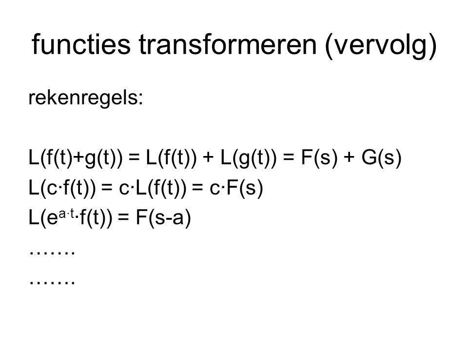 functies transformeren (vervolg) een combinatie hiervan, bijvoorbeeld: g(t) = 2 - 3·t + t 3 – e 4t G(s) = 2/s - 3/s 2 + 6/s 4 -1/(s-4)
