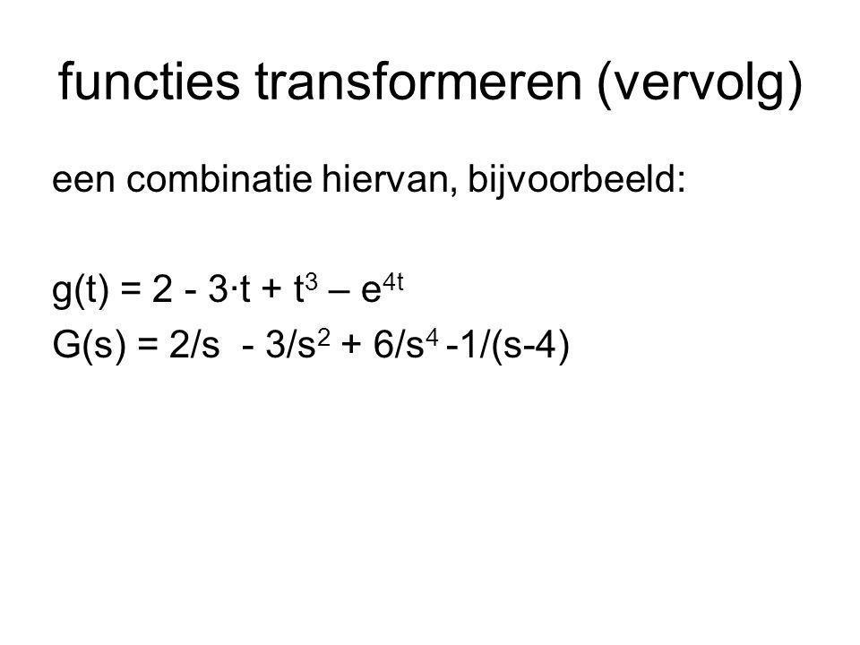 functies transformeren (vervolg) machtsfunctie:f(t) = t n F(s) = n!/s n+1 exponentiele functie:f(t) = e a·t F(s) = 1/(s-a) goniometrische functie:f(t) = sin(ωt) F(s) = ω/(s 2 +ω 2 ) goniometrische functie:f(t) = cos(ωt) F(s) = s/(s 2 +ω 2 )