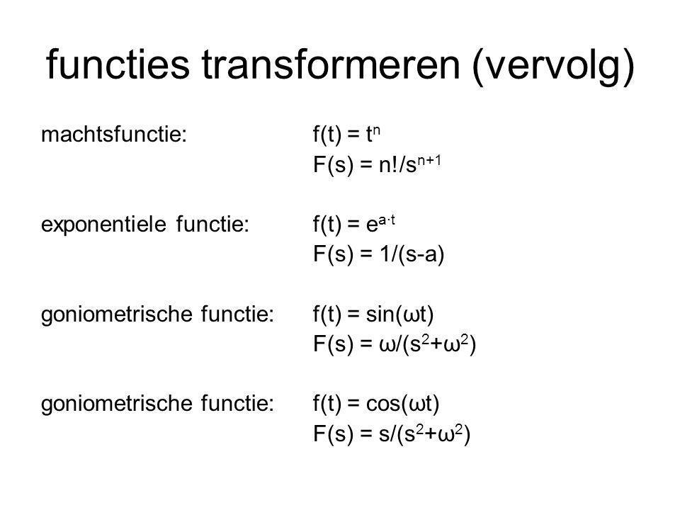getransformeerde van afgeleiden L(df/dt) = s·F(s) – f(0) (eventueel af te leiden m.b.v.