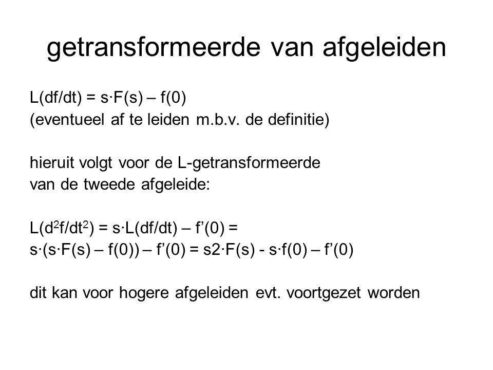 het transformeren van een DV Voorbeeld: DV:dy/dt + y = 2 beginvoorwaarde: y(0) = 1 oplossen in t-domein: y h = C·e -t en y p = 2 dus y = y h + y p = C·e -t + 2 met beginvoorwaarde y(0)=1 volgt C = -1 zodat y = 2 - e -t
