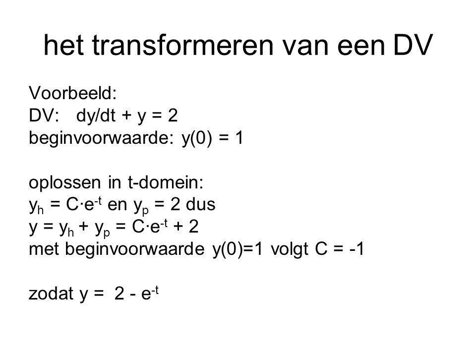 DV:dy/dt + y = 2 beginvoorwaarde: y(0) = 1 nu oplossen m.b.v.