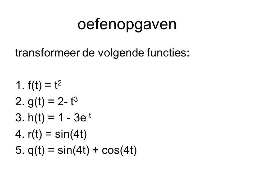oefenopgaven (vervolg) transformeer de volgende DV's en los op: 6.f(t) + f'(t) = t met f(0) = 1 7.g(t) + g''(t) = 0 met g(0) = 0 en g'(0) = 1