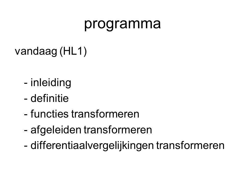 programma (vervolg) volgende week (HL2) - overdrachtsfuncties - responsies - systemen doorrekenen