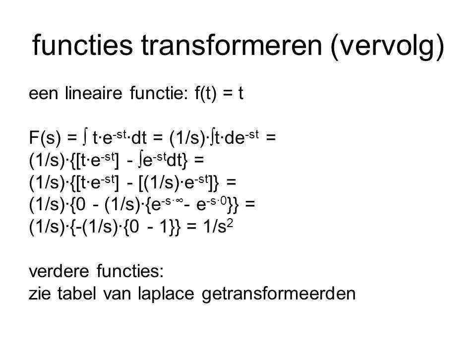 functies transformeren (vervolg) De berekening van getransformeerde functies ('met de hand') is bewerkelijk en vereist toepassing van de techniek partiële integratie.