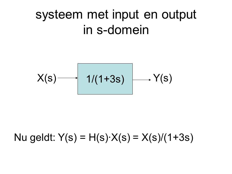 systeem met input en output in s-domein X(s)Y(s) Nu geldt: Y(s) = H(s)·X(s) = X(s)/(1+3s) 1/(1+3s)
