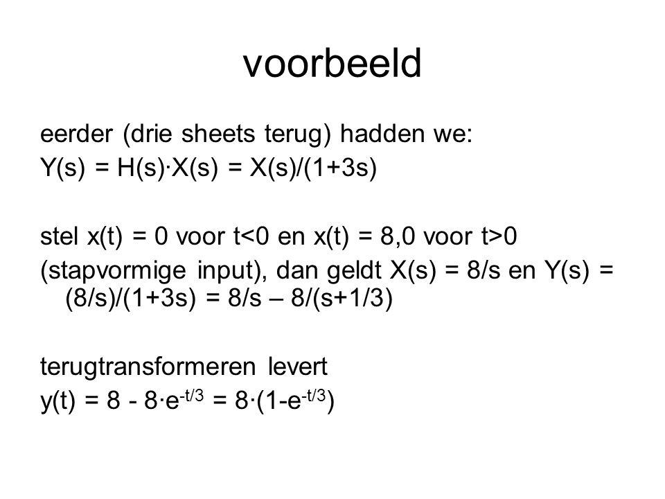 voorbeeld eerder (drie sheets terug) hadden we: Y(s) = H(s)·X(s) = X(s)/(1+3s) stel x(t) = 0 voor t 0 (stapvormige input), dan geldt X(s) = 8/s en Y(s
