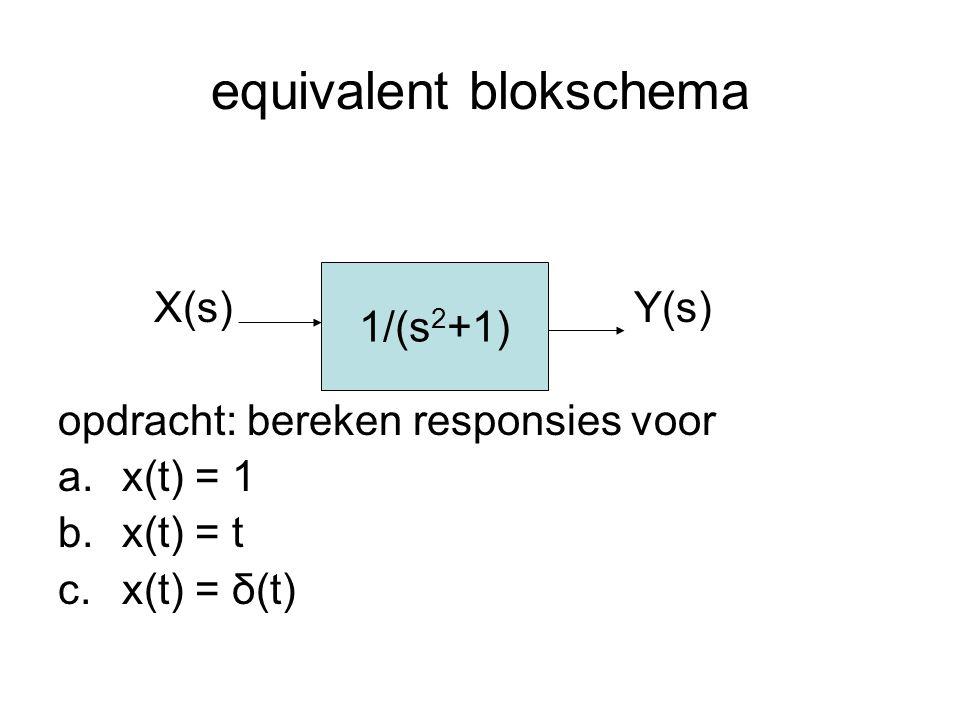 equivalent blokschema X(s)Y(s) opdracht: bereken responsies voor a.x(t) = 1 b.x(t) = t c.x(t) = δ(t) 1/(s 2 +1)