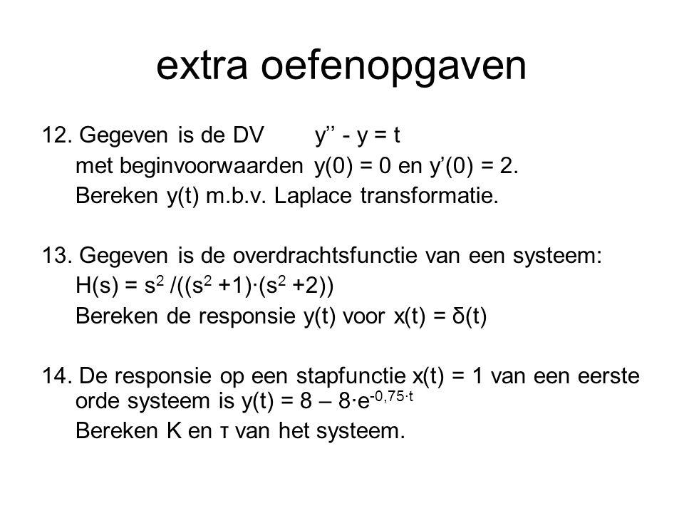 extra oefenopgaven 12. Gegeven is de DVy'' - y = t met beginvoorwaarden y(0) = 0 en y'(0) = 2. Bereken y(t) m.b.v. Laplace transformatie. 13. Gegeven