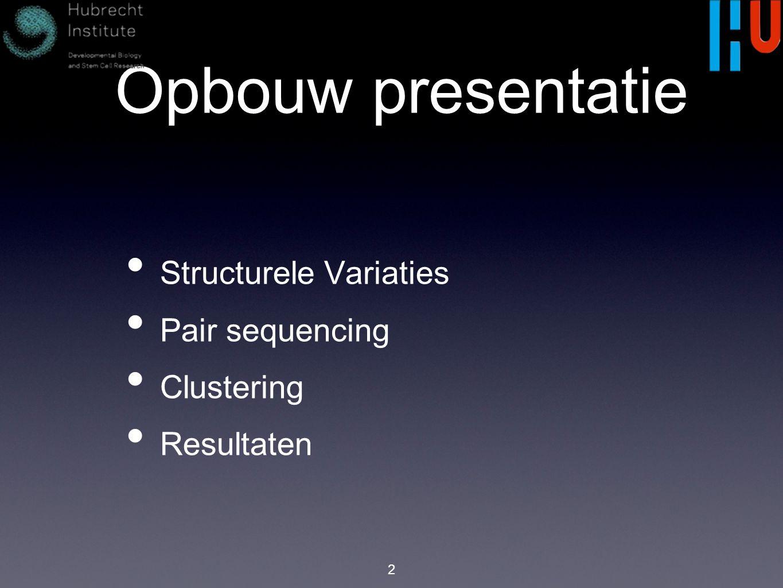 Opbouw presentatie Structurele Variaties Pair sequencing Clustering Resultaten 2