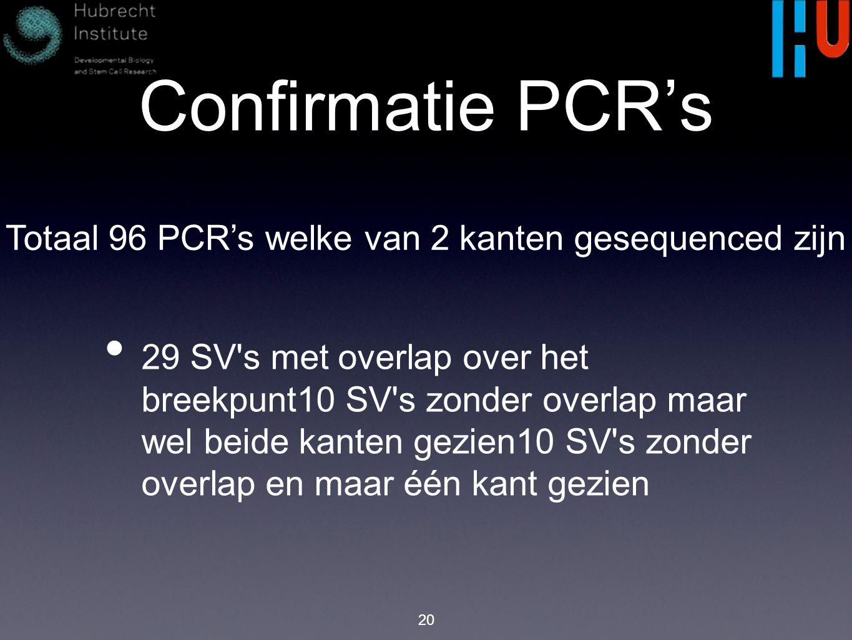 Confirmatie PCR's 20 29 SV s met overlap over het breekpunt10 SV s zonder overlap maar wel beide kanten gezien10 SV s zonder overlap en maar één kant gezien Totaal 96 PCR's welke van 2 kanten gesequenced zijn
