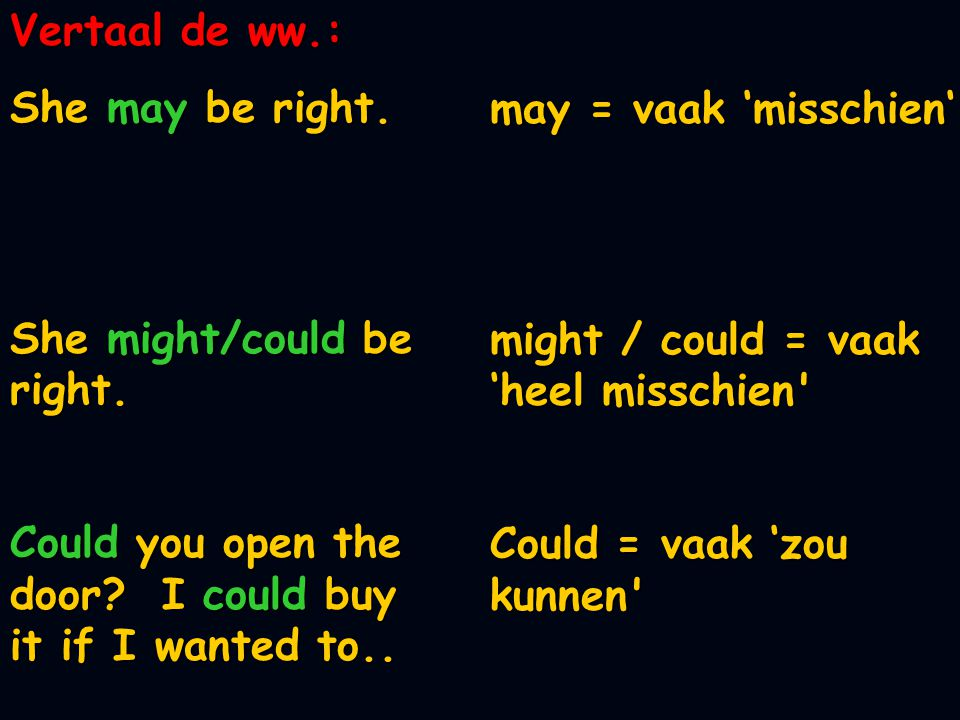 Vertaal de ww.: She may be right.She might/could be right.