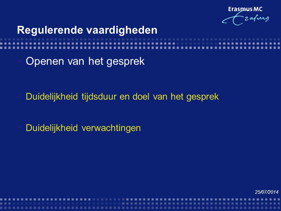 Regulerende vaardigheden  Openen van het gesprek  Duidelijkheid tijdsduur en doel van het gesprek  Duidelijkheid verwachtingen 25/07/2014
