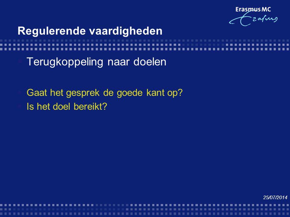 Regulerende vaardigheden  Terugkoppeling naar doelen  Gaat het gesprek de goede kant op?  Is het doel bereikt? 25/07/2014