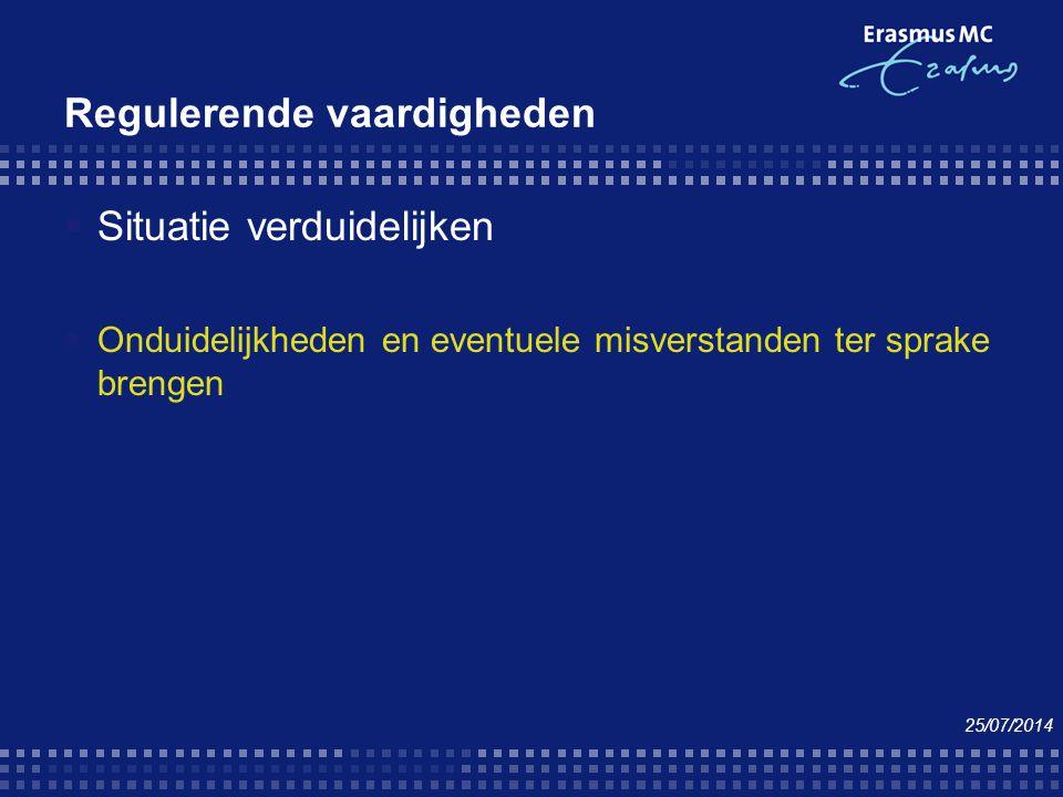 Regulerende vaardigheden  Situatie verduidelijken  Onduidelijkheden en eventuele misverstanden ter sprake brengen 25/07/2014