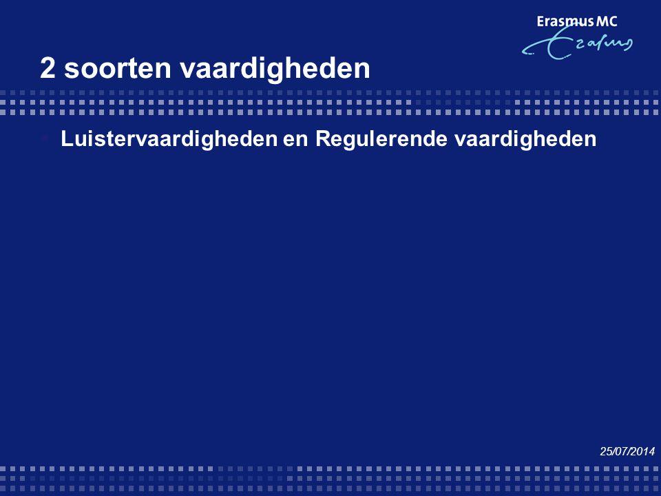 2 soorten vaardigheden  Luistervaardigheden en Regulerende vaardigheden 25/07/2014