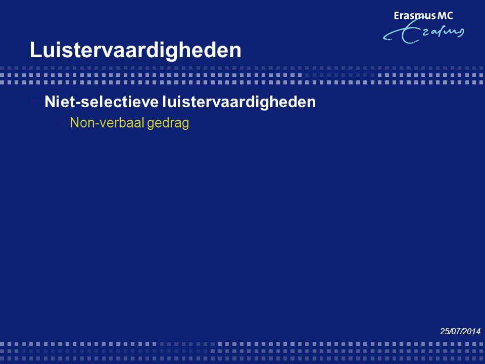 Luistervaardigheden  Niet-selectieve luistervaardigheden  Non-verbaal gedrag 25/07/2014