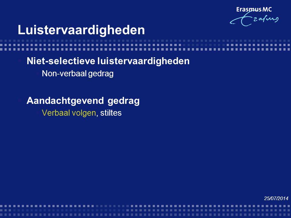 Luistervaardigheden  Niet-selectieve luistervaardigheden  Non-verbaal gedrag  Aandachtgevend gedrag  Verbaal volgen, stiltes 25/07/2014