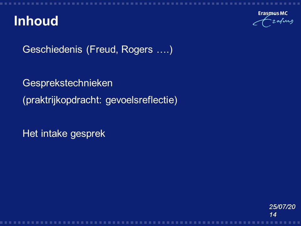 Inhoud  Geschiedenis (Freud, Rogers ….)  Gesprekstechnieken  (praktrijkopdracht: gevoelsreflectie)  Het intake gesprek 25/07/2014